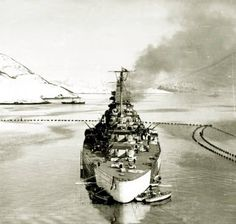 Tirpitz in Norway protected by the torpedo box.