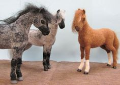 "What gorgeous needle felted horses! ""This handsome gray is ready to join the herd. I love felting animals, especially horses. I use a wire armature, glass eyes, and polyclay hooves to add lif…"