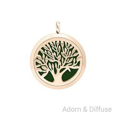 Tree of Life Diffuser Locket Necklace ~ Rose Gold