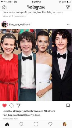 Millie and Finn 2016 Emmy's vs. 2017 Emmy's!!! << omg I can already see them growing up :')