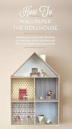 How to wall paper the doll house