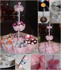 bouteille en plastique à transformer en présentoir à sucreries original, peint rose bonbon