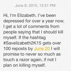 Help her.#Savelizabeth2K15