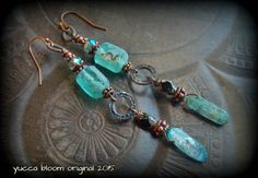 Gypsy, Bohemian, Roman Glass, Blue Kyanite, Earthy, Ethereal, Primitive, Organic, Rustic, Copper, Beaded, Hoop, Earrings by YuccaBloom on Etsy