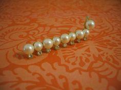 Vintage Faux Pearl and Rhinestone Caterpillar Brooch by GemmazGemz, $6.99