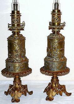 "Pair mid 1800 Renaissance moderator lamps, original center draft burners, 23"" t"