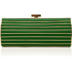 ELIE SAAB Large Striped Clutch ($904) ❤ liked on Polyvore featuring bags, handbags, clutches, purses, bolsas, green handbags, green leather handbag, evening bags, evening hand bags et leather clutches