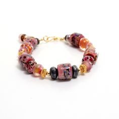 Coral Lampwork Bead Bracelet. Pink Coral Beads. Gold Bali Beads. Boho Rustic Bracelet. Lampwork Jewelry. Gifts For Her.