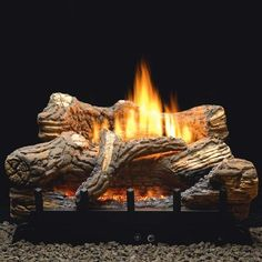 White Mountain Hearth by Empire 30 Inch Flint Hill Gas Log Set with Vent Free Propane Contour Burner - Manual Safety Pilot with Thermostatic Control Vent Free Gas Fireplace, Gas Fireplace Logs, Black Fireplace, Small Fireplace, Rustic Fireplaces, Fireplace Ideas, Ventless Gas Logs, Ceramic Fiber, Log Burner