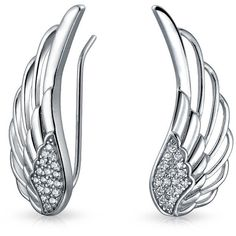Bling Jewelry Angel Wing CZ Ear Pins ($33) ❤ liked on Polyvore featuring jewelry, earrings, ear-cuffs, grey, grey earrings, ear cuff earrings, zirconia earrings, cz earrings and pin jewelry