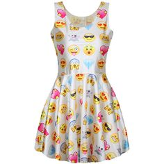 White Ladies Cute Fancy Emoji Printed Pleated Skater Dress found on Polyvore