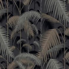 Papier peint - Cole and Son - Palm Jungle - Silver & Black