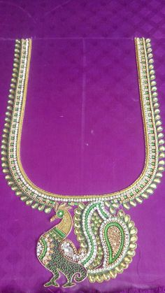 Peacock Blouse Designs, Wedding Saree Blouse Designs, Pattu Saree Blouse Designs, Simple Blouse Designs, Peacock Design, Peacock Embroidery Designs, Maggam Work Designs, Zardosi Embroidery, Embroidery Works