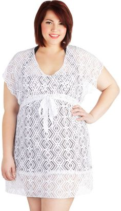 Plus size beach wear 2014 | Modcloth Beach Read Cover Up in Plus Size in White - Lyst