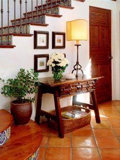 Inspired Saltillo Tile Convention Phoenix Rustic Hall Decorators With Carved Wood Door Fl Arrangement Houseplants Roses Spanish Table Lamp