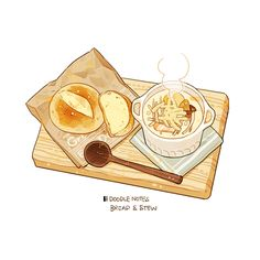 """ with reference"" Cute Food Drawings, Cute Kawaii Drawings, Kawaii Art, Cute Food Art, Cute Art, Anime Collage, Food Illustrations, Illustration Art, Chibi Food"