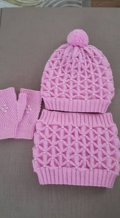 Boina, guantes y cuello de construcción - Mütze für kinder Baby Hats Knitting, Knitting For Kids, Crochet For Kids, Diy Crochet, Free Knitting, Knitted Hats, Crochet Hats, Easy Knitting Patterns, Crochet Patterns