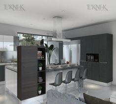 Cocina con Blanca al alto brillo con detalles en colores neutros y muebles auxiliares que permiten un espacio mas abierto.