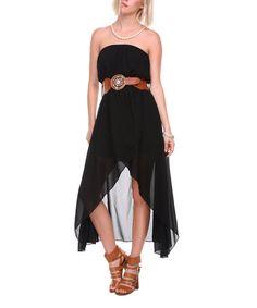Love this Black Strapless Dress & Brown Belt by Stanzino on #zulily! #zulilyfinds