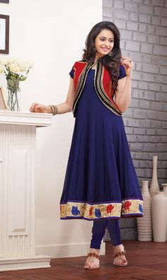 Rakul Preet Singh Navy Blue Designer Anarkali With Koti Salwar Suit Duptta-SP1094