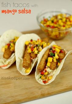 These Baja Fish Tacos are ready in just 15 minutes! They are one of my favorite fish dinner recipes. The Baja Sauce is incredible too. Get the recipe here. Shrimp Taco Recipes, Shrimp Tacos, Fish Tacos, Fish Recipes, Mexican Recipes, Yummy Recipes, Crab Fries, Mango Salsa Recipes, 15 Minute Meals