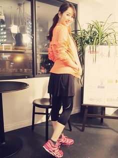 outer...GapFit tops...GapFit bottoms...GapFit tights...SKINS shoes...New Balance #anecan #run #running #cordinates #ootd #outfits #森絵里香 #erikamori