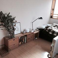 coroさんの、ベッド周り,無印良品,賃貸,ユーカリ,PUEBCO,ユーカリドライ,シンプルインテリア,シンプルな暮らし,のお部屋写真
