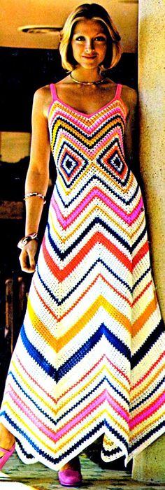 INSTANT DOWNLOAD PDF Vintage Crochet Pattern    1970s Chevron and Granny Square Maxi Sun Evening Dress  Retro Plus Free Pattern