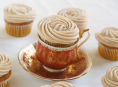Pumpkin cupcakes with cinnamon cream cheese frosting. (doctored white cake mix!) Bake at 350