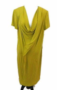 Diane von Furstenberg Dress Reara Draped Silk-Crepe Size 12 Golden Green DVF NWT #DianevonFurstenberg #Sheath #WeartoWork