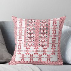 Super soft and durable spun polyester Throw pillow with double-sided print. Cover and filled options. Embroidery Stitches, Embroidery Patterns, Palestinian Embroidery, Embroidery For Beginners, Designer Throw Pillows, Pillow Design, Finding Yourself, Cross Stitch, Crosses