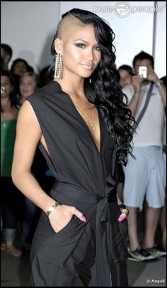 Cassie <3 Love her long black curls with half head shaved!