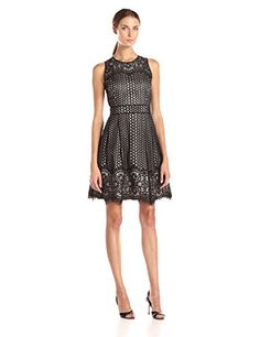 Vince Camuto Women's Sleeveless Fit and Flare Dress with Scallop Hem - http://darrenblogs.com/2015/11/vince-camuto-womens-sleeveless-fit-and-flare-dress-with-scallop-hem/