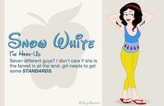 """If Disney Princesses went to high school - Ha ha ha """"Hi Ho"""" tattoos."""