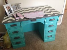 Painted Desks eight painted desk ideas | desks, chevron desk and turquoise desk