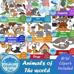 This is a bundle that contains 9 sets of clip art of animals from around the world. There are 94 individual black and white clip art, and 94 colored, to make a grand total of 188 clip art available for all your amazing projects!.