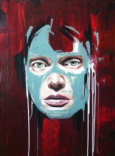 """#sandrachevrier La Cage rigide dans une chambre chaude, 2013, acrylic on canvas, 40"""" x 30""""    Available: www.mirusgallery.com"""