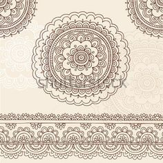 Hand Drawn Henna Mehndi Tattoo Flower Mandala and Paisley Border ...