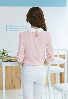 Korean Style 2015 New summer Blouses summer style party Blouses Casual full chiffon bitton turn down collar women shirts 2 color Business Casual Outfits, Classy Outfits, Cool Outfits, Frocks For Teenager, Muslim Fashion, Korean Fashion, White Chiffon Blouse, Peter Pan Collar Blouse, Stylish Tops