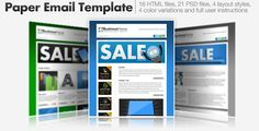 Paper Email Templates - 16 HTML Email Templates by cazoobi Paper Email TemplatesBlow your customers away with this superb set of cool email templates, this pack comes with a total of 16HTMLtemplates along with all web graphics,PSDmaster graphics and full user instructions.Pack Features: