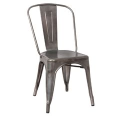 """425 GALVANIZED CHAIR  H:33.65"""" D:20.5"""" W:17.5"""" SH:18""""  • Made with Galvanized Steel Welded Frame  • Available in Several Colors  • Stack up to 6 - 8 Chairs High  Quick-Ship Availability: Matt Galvanized Color"""