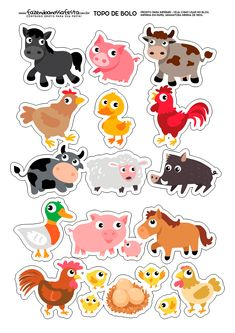 Animal Cake Topper Printable Stickers Printable Planners Planner S Farm Animal Cakes, Farm Animal Party, Farm Party, Toddler Learning Activities, Animal Activities, Animal Crafts, Templates Printable Free, Printable Stickers, Planner Stickers