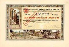 AG für landwirtschaftliche Maschinen vormals Gebr. Buxbaum Aktie 1.000 Mark Dez. 1909 (Auflage 875, R 9).