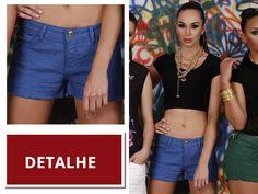 Shorts Jeans Peoples Jeans Azul com detalhes. Primavera Verão 2015