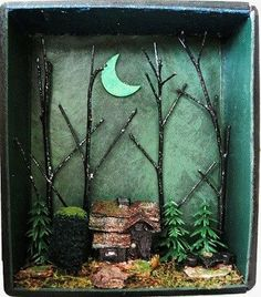 Witch Haunted House Shadow Box Gothic Miniature by fantasycrafts, $85.00