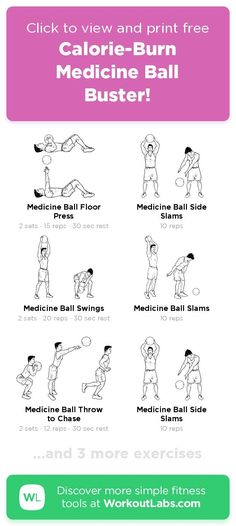 Free workout: Calorie-Burn Medicine Ball Buster! – 20-min abs, back, chest, legs exercise routine. Try it now or download as a printable PDF! Browse more training plans and create your own exercise programs with #WorkoutLabsFit · #AbsWorkout #BackWorkout #ChestWorkout #LegsWorkout Don't need to go to the gym, just use your bodyweight and take a few minutes a day, 30 Day Weight Loss Challenge will greatly help to get a perfect bikini body! Ab Day Workout, Leg Day Workouts, Free Workout, Ab Workout At Home, Workout Videos, At Home Workouts, Weight Workouts, Perfect Bikini Body, Revenge Body