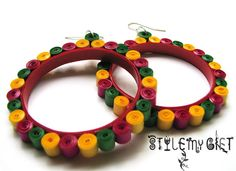 Quilled Hoops Paper Quilled Earrings by StyleMyGift on Etsy, $16.00
