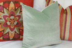 Mint green velvet throw pillow cover. 18x18 20x20 22x22 24x24 26x26 16x26 16x24…