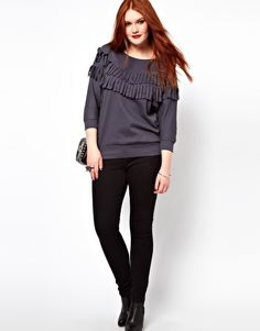 Enlarge ASOS CURVE Sweat Top With Fringe