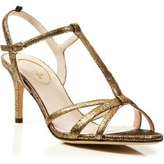 SJP by Sarah Jessica Parker Gemma Cracked Metallic Ankle Strap Mid... ($345) ❤ liked on Polyvore featuring shoes, sandals, oro, high heel shoes, ankle wrap sandals, metallic high heel sandals, ankle tie sandals and special occasion shoes